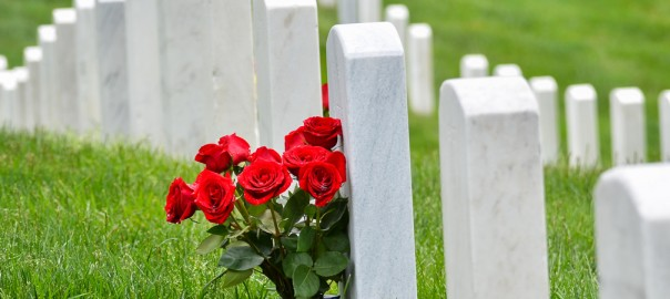 A picture showing a bouquet of roses resting on the headstone of a veteran in a National Cemetery